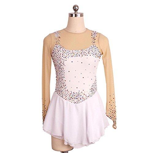 Heart&M Eiskunstlauf Kleid Damen M?dchen Eislaufen Performance Kleid Stretchy Skating tragen handgemachte schwei?ableitende wei?e lange ?rmel , L (Jeweled Chiffon Kleid)