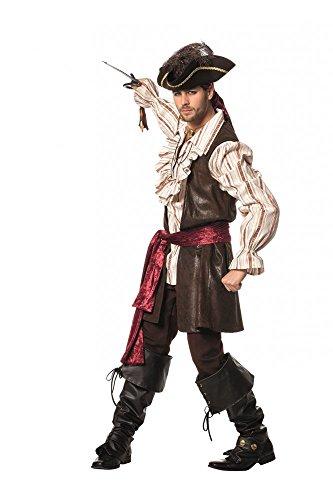 Deluxe-Set (2) Piraten-Kostüm für Herren Weste Hemd Schal Hut Gamaschen Augenklappe, (Herren Kostüm Deluxe Piraten)