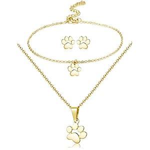 Adramata Paw Halskette Ohrringe Armband für Frauen Dog Paw Print Anhänger Halskette Ohrstecker Charm Armband Edelstahl Hundeschmuck Set