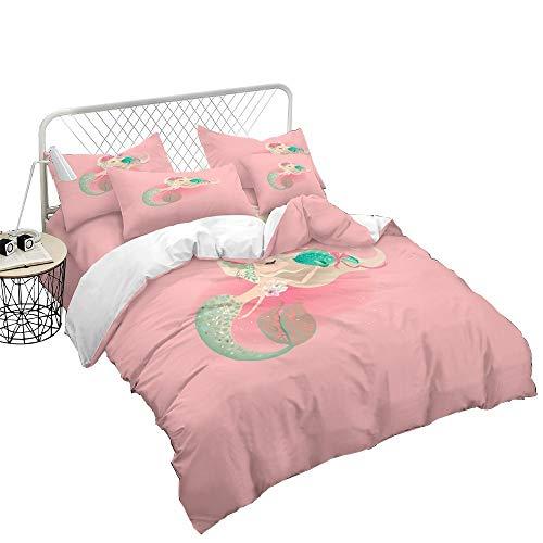 REALIN Bettwäsche Meerjungfrau Bettbezüge Set 3D Fairy Tales Pink Mermaids and Fish Muster Enthält Bettbezüge/Kissenbezüge/Bettlaken,Geschenk Für Kinder,Kleinkinder,Jungen,Mädchen