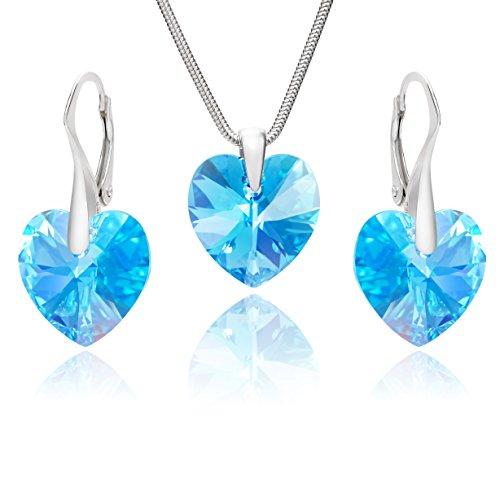 Lillymarie donne parure gioielli argento sterling ciondolo cuore swarovski elements originali azzurro lunghezza regolabile scatola regalo fidanzata