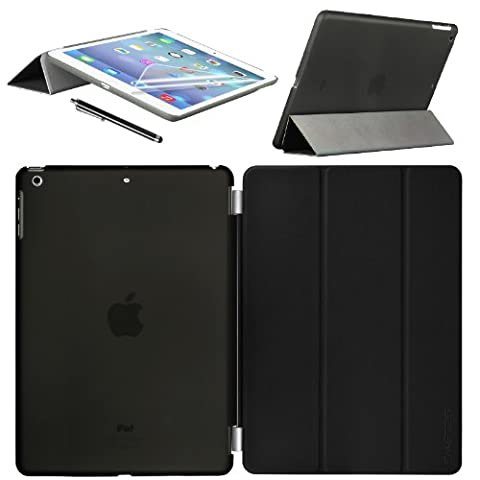 Swees Apple iPad Air Smart Cover und TPU Back Hülle Cover Case Schutzhülle Etui Tasche für 2013 iPad Air iPad 5, Unterstützt Sleep / Wake Funktion+ Displayschutzfolie & Stylus (Eingabestift) - Schwarz