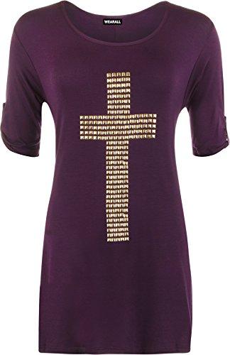 WearAll - Tunique évasée à manches courtes avec un croix clouté - Hauts - Femmes - Grandes tailles 42 à 56 Pourpre