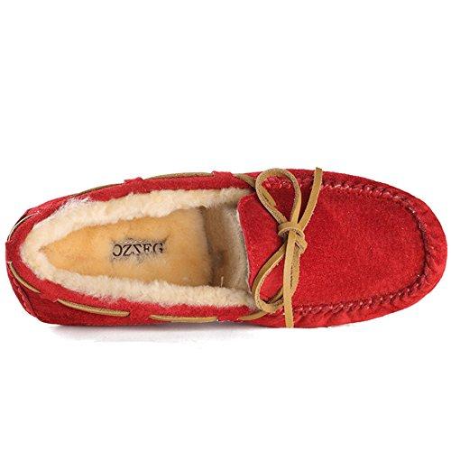 OZZEG Confort décontracté école en cuir plates mocassins féminin chaussures doublure en peau de mouton Rouge