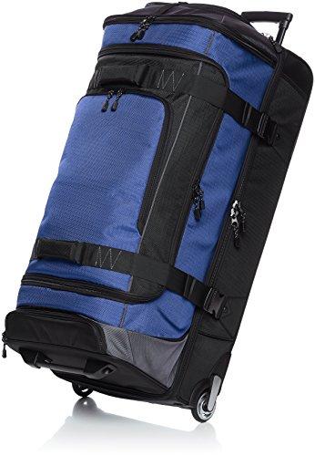 Amazonbasics - borsone da viaggio con ruote, in ripstop, 89 cm, blu