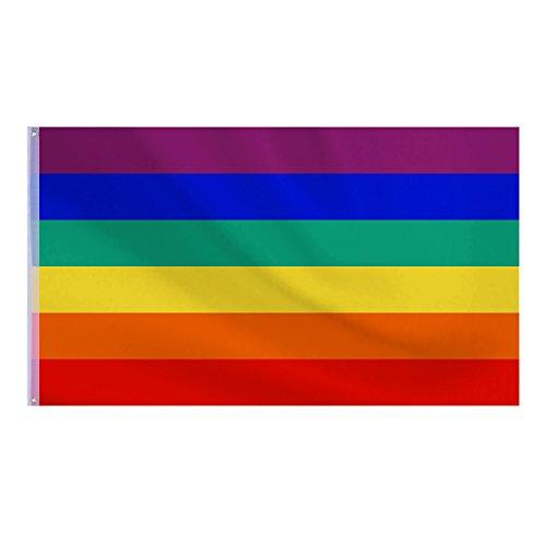 lz Regenbogenfahne Rainbow Flag Festival Karneval Banner, 5 x 3 ft/ 150 x 90 cm (Fußball-banner)