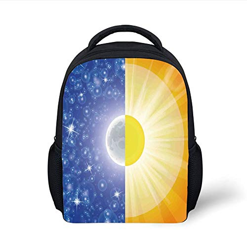 Kids School Backpack Apartment Decor,Split Design with Stars in The Sky and Sun Beams Light Solar Balance Image,Blue Yellow Plain Bookbag Travel Daypack -