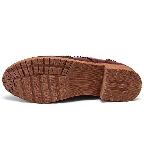 Odema Femme les lacets rétro vintage mi talon oxfords chaussures confort vin rouge