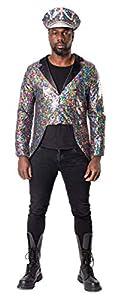 Folat 64670 Chaqueta con lentejuelas arcoíris para hombre-Talla XL-XXL, multicolor