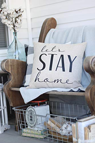 Prz0vprz0v Let's Stay Home Pillow Cover Decorative Home Decor Pillow Case Square Cushion Case for Sofa Bedroom 18 x 18 Inch