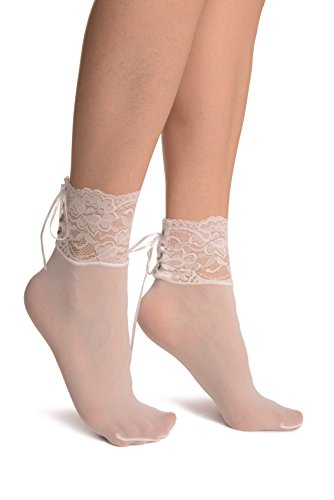 White Opaque With Corset Back Lace - Weiß Socken Einheitsgroesse (37-42)