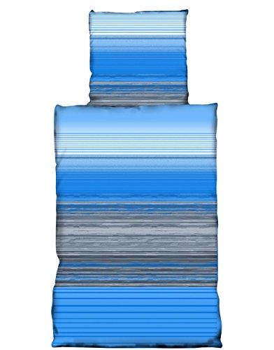 Basatex 4 teilig Microfaser Bettwäsche Blau Grau, 2X 135×200 2X 80×80 cm