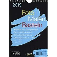 Foto-Malen-Basteln Bastelkalender A5 schwarz 2019: Fotokalender zum Selbstgestalten. Aufstellbarer do-it-yourself Kalender mit festem Fotokarton.