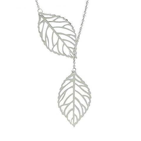 Feelontop® Gold Silber überzogene doppelte Blatt-Form-lange hßngende Halskette mit Schmuckbeutel (Silver)