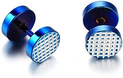 JewelryWe joyería pendientes de la ilusión unisex de acero inoxidable hombre mujer pareja túnel conector redondo del perno prisionero del azul 8 mm (con bolsa de regalo)