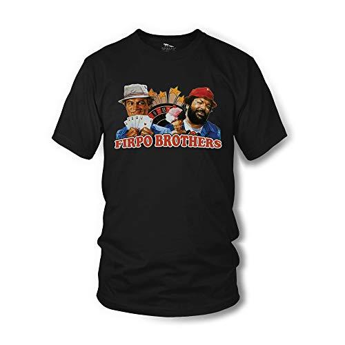 Terence Hill Bud Spencer T-Shirt Herren - Zwei sind Nicht zu bremsen - Firpo Brothers (schwarz) (XL)
