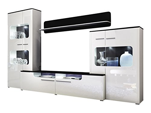 Furnline Living Room Furniture Lucky Wall Unit, Black/High Gloss White