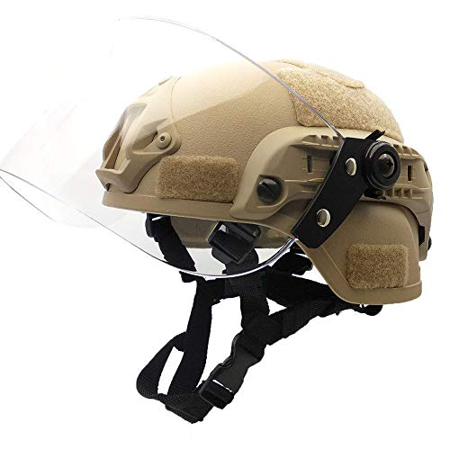 BBYaki Soft Airsoft Tactical Mich 2000 Militär Paintball Force Helm Mit Transparenter Rostmaske Maske CS Spiel Fast Helmet Sliding Goggles und Side Rails NVG,Khaki