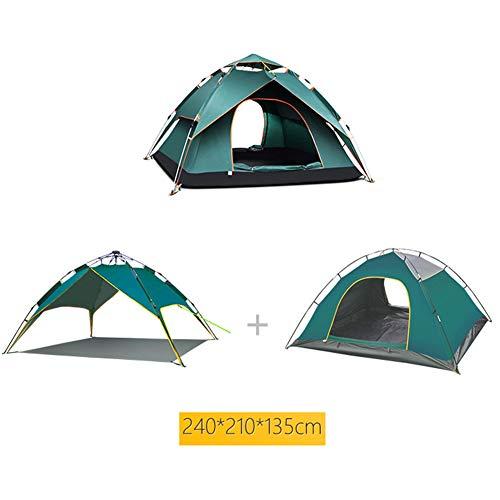 LIPENGXIANG Multi-Persona de la Familia Camping Carpa Pop-up yurta al Aire Libre Doble Capa mosquitera Doble Puerta, multipropósito, Gancho de luz,Darkgreen,D