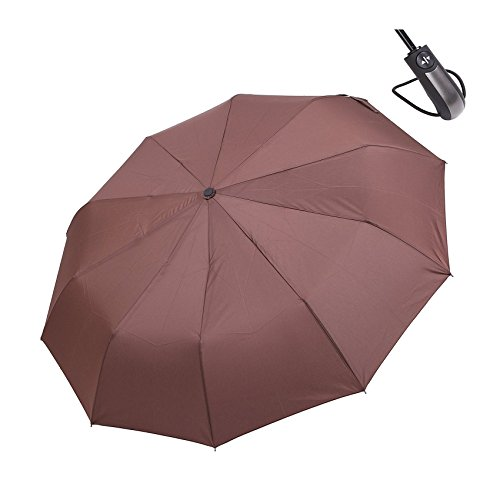 HiViolet Regenschirm Automatischer Taschenschirm 106cm Durchmesser für Damen Herren, Sturmfest Windfest Stabil Kompakt Reise/Outdoor mit einhändiger Auf-Zu-Automatik (Kaffee)