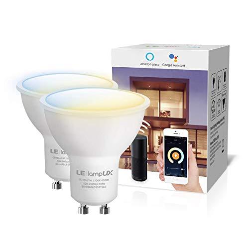 LE LampUX Ampoule WiFi Connectée GU10, Ampoule LED Connectée Google Home Alexa, Lumière Blanche 2700-6500K Réglable et Dimmable 4.5W(= 50W Ampoule Halogène), Contrôle Par APP, Pas Hub Requis