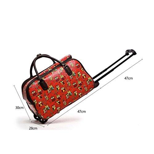 LeahWard Frauen Girl's Holdall Faux Leder Gepäck Tasche Hand Gepäck Reise Koffer Urlaub Taschen CW01 (S Schwarz Eule) S Rot Eule