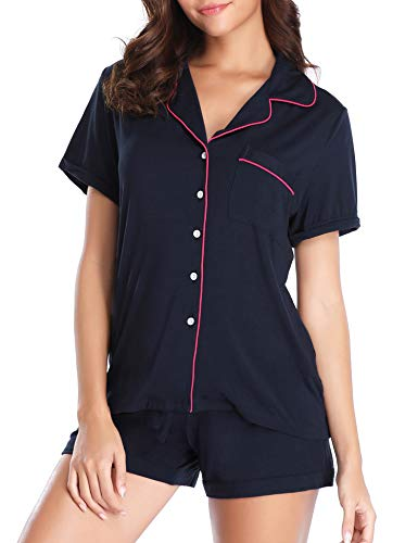 LusofieDamenPyjamaSetKurzSommerSchlafanzugKurzarm Zweiteiliger NachtwäscheSet Hausanzug Knöpfen (372 Navy Blau, XL)