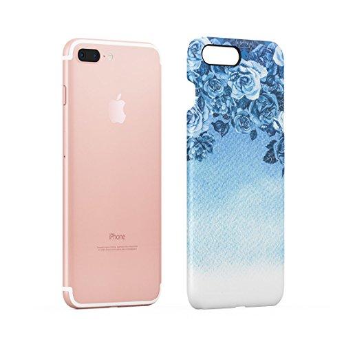 Turquoise Tropical Jungle Leaves Ombre Dünne Rückschale aus Hartplastik für iPhone 7 Plus & iPhone 8 Plus Handy Hülle Schutzhülle Slim Fit Case cover Blue Roses