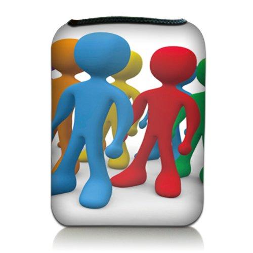 Luxburg® Design Tasche Hülle Sleeve für Kindle Paperwhite, Kindle Voyage 6 Zoll / Vision 3 HD / Vision2 / Vision 1 / Shine 2 HD, Sony PRS-T3, Pocketbook Touch Lux 3, Motiv: Bunte Männchen