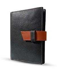 HUBEN RFID Anti Theft Genuine Leather Passport and Card Holder Wallet (Black)