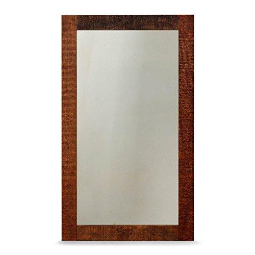 MÖBEL IDEAL Wandspiegel Kumasi Spiegel aus Massivholz in Antik Braun 70 x 120 cm