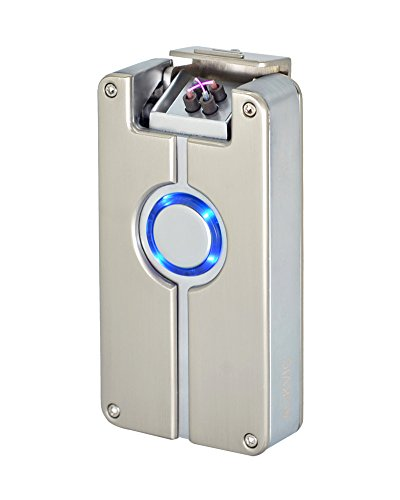 Aokvic USB elektronisches Feuerzeug aufladbar lichtbogen Long Battery Life (Silber)
