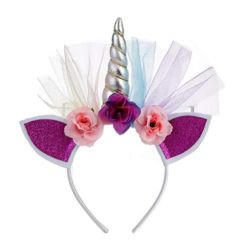 (Kleinkinder Kinder RegenbogenUnicorn Horn Stirnband-Blumenblumen-Kopfbedeckung Zubehör Dekorative Kopfschmuck Für Mädchen-Geburtstags-Crown Kopfbedeckung)