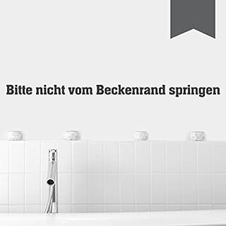WANDKINGS Wandtattoo - Bitte nicht vom Beckenrand springen - 101 x 6 cm - Dunkelgrau - Wähle aus 5 Größen & 35 Farben