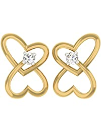 TBZ - The Original 18k Yellow Gold and Diamond Stud Earrings