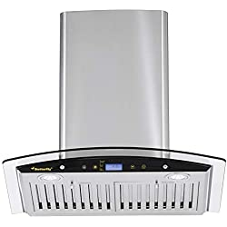 Butterfly 60cm 1200 m3/hr Chimney (Desire, 2 Baffle Filters, Touch Control, Steel/Grey)