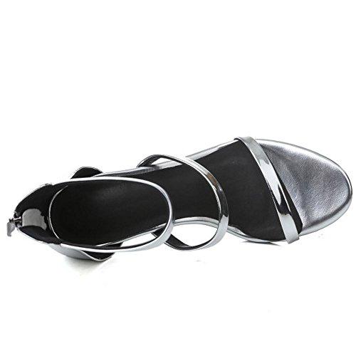 COOLCEPT Damen Mode Knochelriemchen Sandalen Open Toe Stiletto Schuhe Mit Zipper Silber