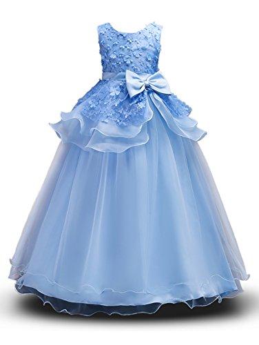 Prinzessin Kostüm Mädchen Blumen Kleider Lang Rock mit Schmetterling ärmellos Party Hochzeit KleidGr. 130 (6-7 Jahre), Blau