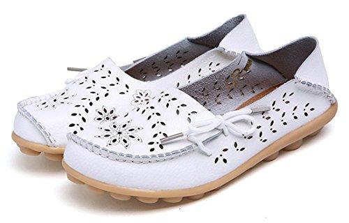 Auspicious beginning Mocassins évidements Creux Mocassins Décontractés Chaussures Bateau Pour les Femmes Blanc