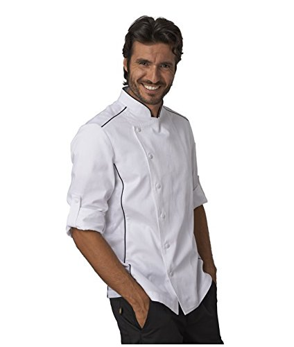 """SIGGI - Giacca per cuoco """"Alex"""" in cotone drill 100% irrestringibile. Inserti traspiranti. Peso al mq. gr. 190. - Taglia: L - Varianti: nero"""