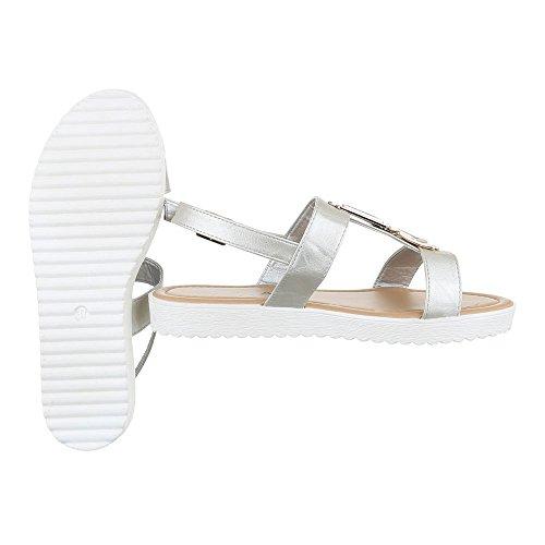 Komfortsandalen Damenschuhe Römersandalen Riemchen Schnalle Ital-Design Sandalen / Sandaletten Silber