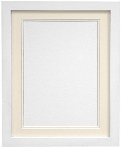 Frames By Post H7Bilderrahmen mit elfenbeinfarbenem Doppel-Passepartout für Bildgröße A4, weiß, 35,6x 27,9cm