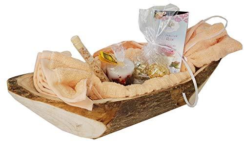 Geschenkkorb Badevergnügen exklusive Badeprodukte in Holz-Dekoschale