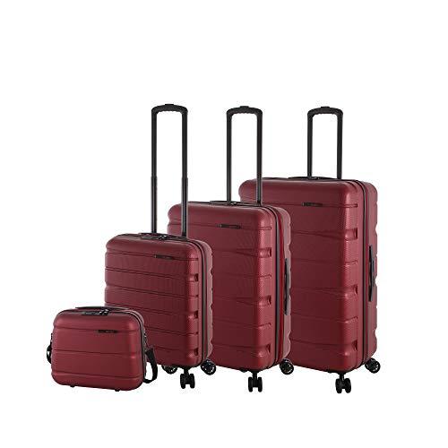 Rada Koffer Set Haftschale 4 Rollen (4-TEILIG) aus robustem ABS-Material, Reise Trolley Damen und Herren, inkl. Kosmetikkoffer, Handgepäck (rot)