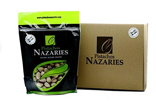 Pistazien Nazaries - Spanisch Pistazien hohe Qualität, sorgfältig ausgewählt und geröstet, ohne Salz. Sehr knusprig. (Packung mit 2 Beutel mit je 250 g).