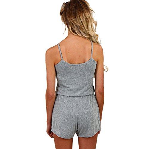 Fletion Damen V-Ausschnitt Sexy Kurzer Overall,Schwarz,S Grau