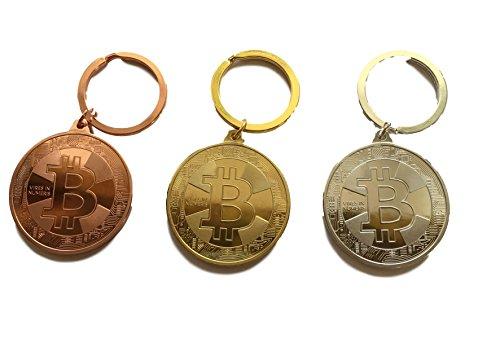 Bitcoin SCHLÜSSELANHÄNGER - Physische BTC Münzen Gold Silber o. Bronze - Anhänger mit 38mm Münze - Zubehör - HOCHGLÄNZEND - Angreifbare Deko Dekoration - Krypto Blockchain Fan (Bronze) -