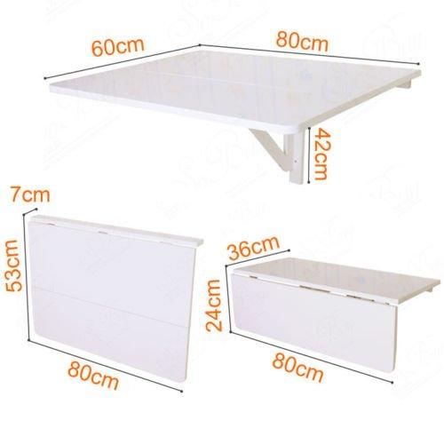 Tavolo A Muro Richiudibile.Sobuy Tavolo Da Muro Pieghevole 8060cm2x Pieghevole Biancofwt02