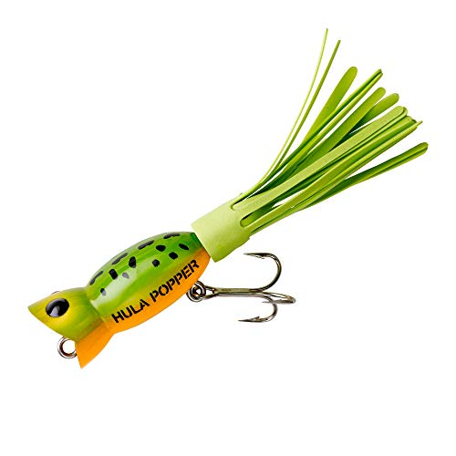 Arbogast Lure Company Hula Popper Angeln Lure, Frog Yellow Belly - Chartreuse Skirt, 1 1/4