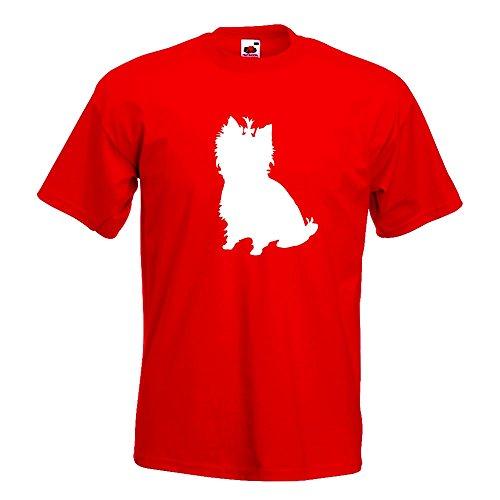 KIWISTAR - Yorkshire Terrier Hunderasse T-Shirt in 15 verschiedenen Farben - Herren Funshirt bedruckt Design Sprüche Spruch Motive Oberteil Baumwolle Print Größe S M L XL XXL Rot